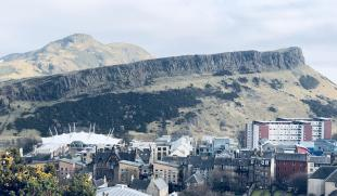 View of Arthur's Seat and Salisbury Crags from Calton Hill, Edinburgh